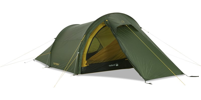 halland 2 lw 151015 nordisk extreme lightweight two man tent forest green front left open