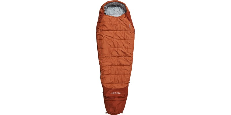 knuth plus 5 110435 nordisk junior sleeping bag burnt red front long