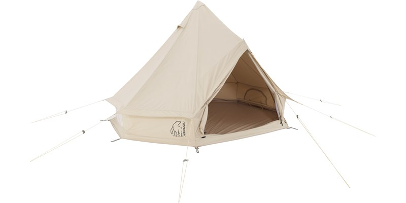 asgard 7 1 m2 142012 nordisk classic retro bell tent technical cotton with a sewn in floor front left open 1b