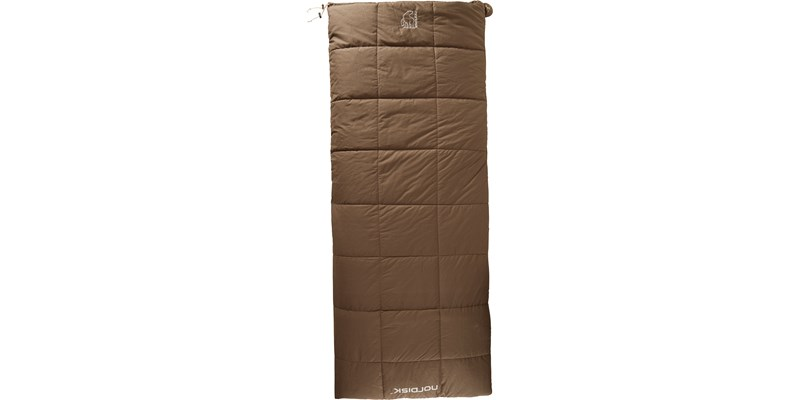 almond minus 2 141003 nordisk rectangular shape sleeping bag bungy cord brown front