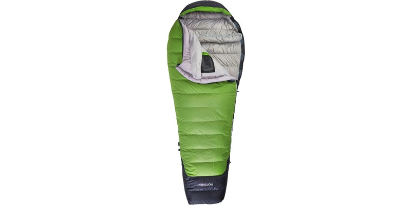 celsius minus 18 110210l nordisk mummy shape sleeping bag peridot green front open