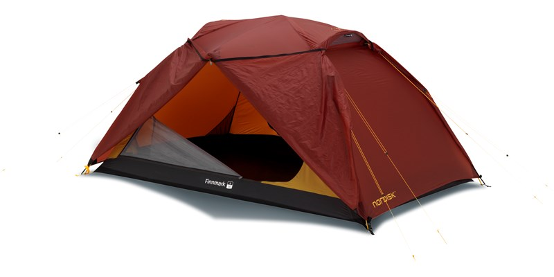 finnmark 2 si 112029 nordisk classic tunnel two man tent burnt red front right open
