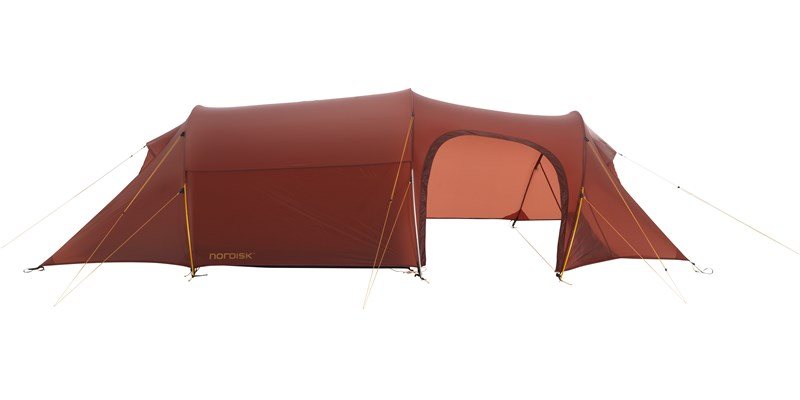 oppland 3 lw 151014 nordisk extreme lightweight three man tent burnt red side open