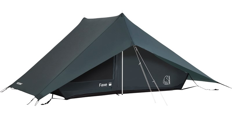faxe 2 si 112030 nordisk classic asymmetric two man tent petroleum green front left