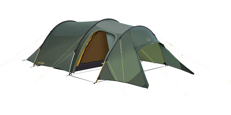 oppland 3 si 112033 nordisk classic tunnel three man tent forest green front left open