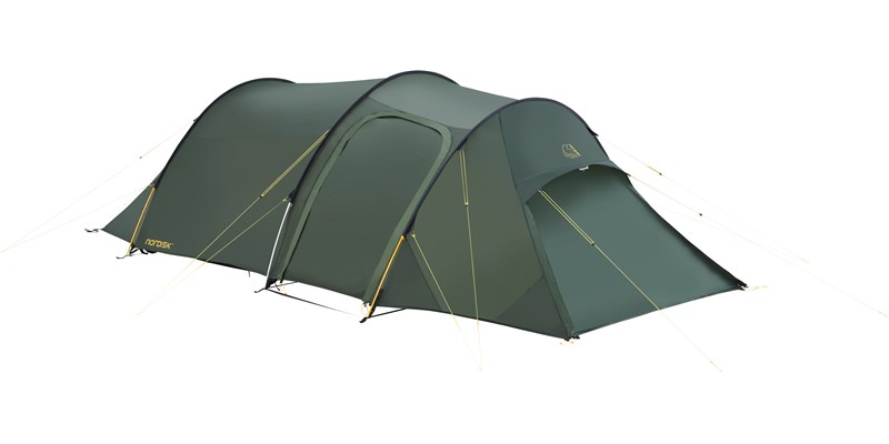 oppland 3 si 112033 nordisk classic tunnel three man tent forest green front left